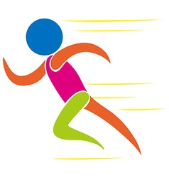 Colorful icon of man running vector image