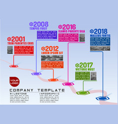 Company milestones time line path infographic vector