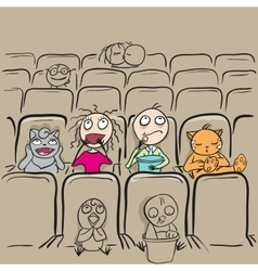 Couple love in cinema theater watching movie vector image