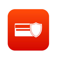credit card and shield icon digital red vector image