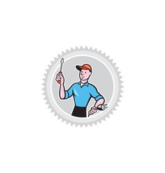 Electrician Screwdriver Plug Rosette Cartoon vector image