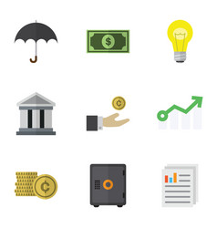 Flat icon finance set of document bank growth vector