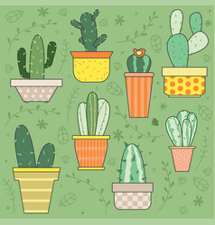hand drawn cactus plants set vector image vector image