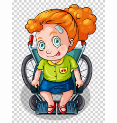injured girl on wheelchair vector image vector image