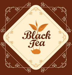 Label for black tea with sprig of tea and teapot vector