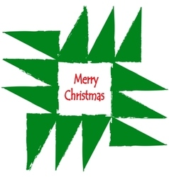 Merry Christmas Greeting Card Geometric fir tree vector image