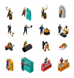 Metalworking tools machinery isometric icons vector