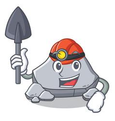 Miner stone character cartoon style vector