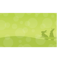 On green background bunny easter flat vector