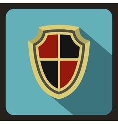 Red and black shield icon flat style vector image