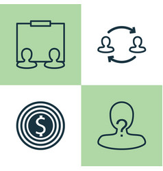 Resources icons set collection of team structure vector