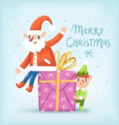 Santa elf and a present Christmas greeting card vector image vector image