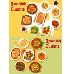 Spanish cuisine seafood and meat dishes icon set vector