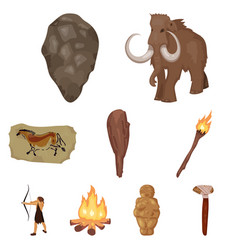 Stone age set icons in cartoon style big vector