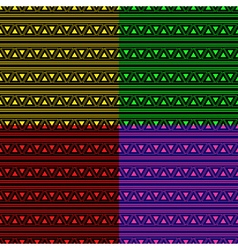 Triangle Aztec Neon Background Set vector image