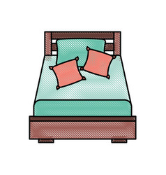 Wooden bed with pillow blanket furniture room vector