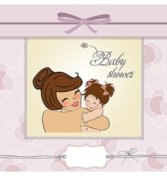 young mother holding a new baby girl vector image vector image