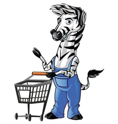 Zebra Mascot Shopping vector image