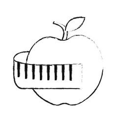 Apple and measuring tape weight loss icon image vector
