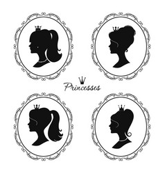 Princesses profile set beautiful female vector