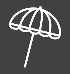 Sun umbrella line icon travel tourism parasol vector