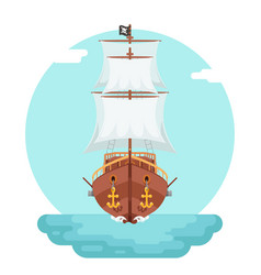 Front view wooden pirate buccaneer filibuster vector