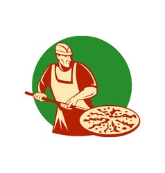 Pizza pie maker or baker holding baking pan vector