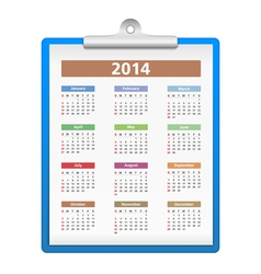 Clipboard with 2014 Calendar vector image