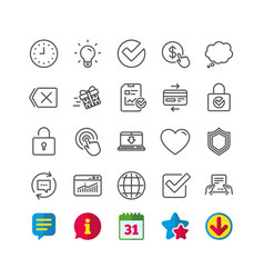 Report time and globe line icons statistics vector