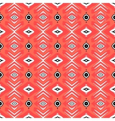 Hipster pattern with geometric forms in coral red vector