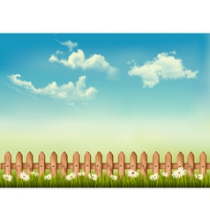 Retro background with a fence grass sky and vector image