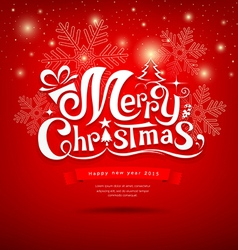 Merry christmas greeting card lettering design vector