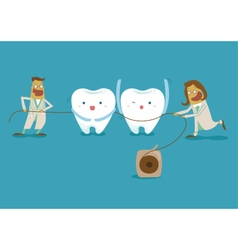Dentist take dental floss vector