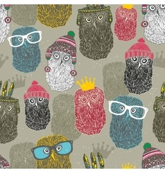 Seamless pattern with group of owls for hipster vector
