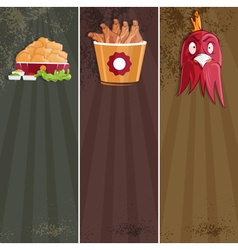 Fried chicken fast food banners vector