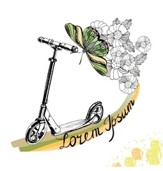 Hand drawn kick scooter butterfly and flowers vector
