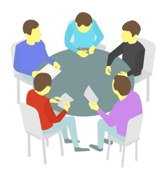 Round-table talks group of business five people vector