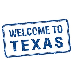 Welcome to texas blue grunge square stamp vector