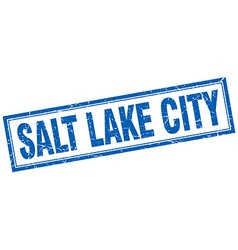 Salt lake city blue square grunge stamp on white vector