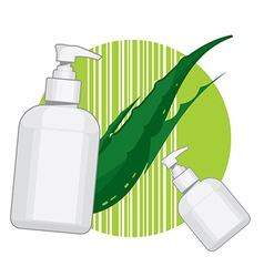 Bottle with aloe vera cream or soap vector