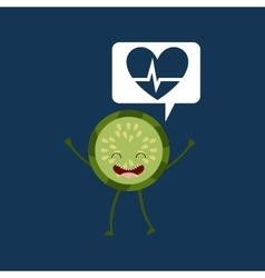 cartoon heart kiwi fruit vector image