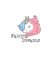 cute logo Cartoon sleeping unicorn vector image vector image