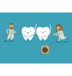 Dentist take dental floss vector