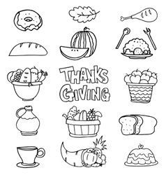 Doodle of thanksgiving collection hand draw vector