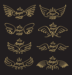 elegant angel golden flying wings on black vector image