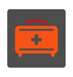 First aid toolkit flat button vector