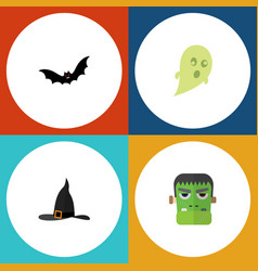 flat icon halloween set of phantom witch cap vector image vector image