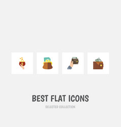 flat icon purse set of currency finance pouch vector image vector image