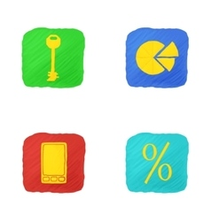 Four icons in handdrawn style vector