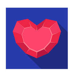 Heart-shaped gemstone icon in flat style isolated vector